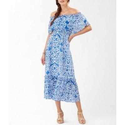 トッミーバハマ レディース ワンピース トップス Calli's Calypso Off-the-Shoulder Printed Woven Cotton Silk Blend Midi Dress Turkis