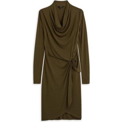 テッドベーカー Ted Baker レディース ワンピース ミニ丈 ワンピース・ドレス Neyda Jersey Drape Long Sleeve Mini Dress KHAKI