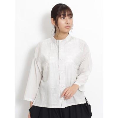 KEI Hayama PLUS (ケイハヤマプリュス) レディース Vert キュプラコットンブロードクロスステッチ刺しゅうシャツブラウス オフホワイト F