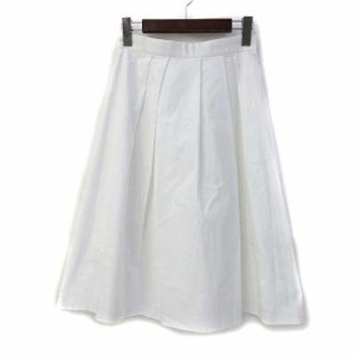 【中古】アンタイトル UNTITLED フレア スカート 1 S 白 ホワイト コットン ひざ丈 無地 シンプル AG153-72403JJ レディース