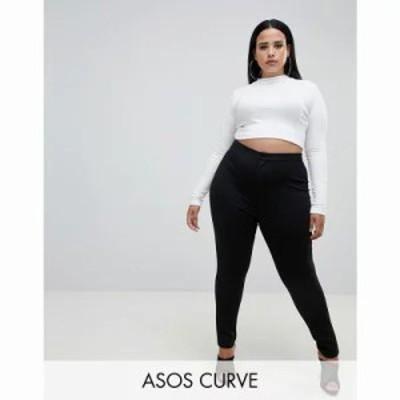 エイソス スパッツ・レギンス ASOS DESIGN Curve high waisted stretch treggings Black