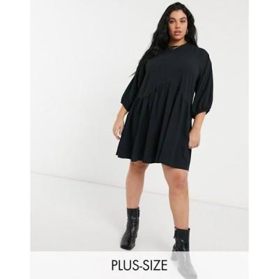 コルージョン レディース ワンピース トップス COLLUSION Plus exclusive textured midi smock dress in black