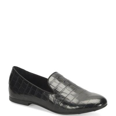 ボーン レディース サンダル シューズ Belina Croco Embossed Slip-On Block Heel Loafers Black
