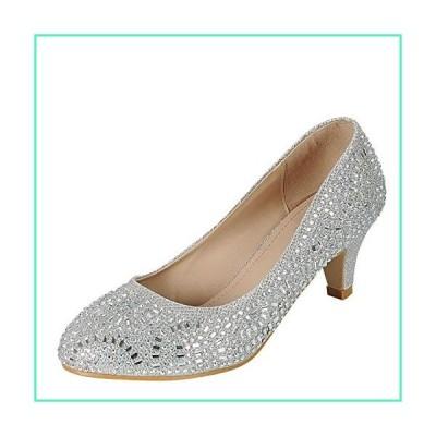 Forever Link Jemma-31 Womens Kitten Heel Jeweled Rhinestone Slide Slip On Pump Shoes,Silver,7.5並行輸入品