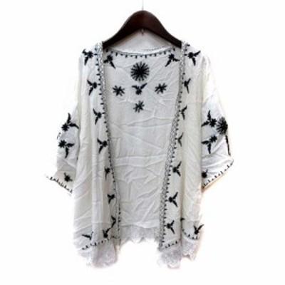 【中古】カラー color カーディガン カットソー 七分袖 刺繍 かぎ編み 白 ホワイト /YI レディース