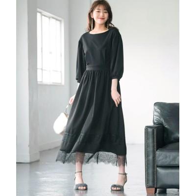 【大きいサイズ】 レース使い七分袖カットソーワンピース ワンピース, plus size dress