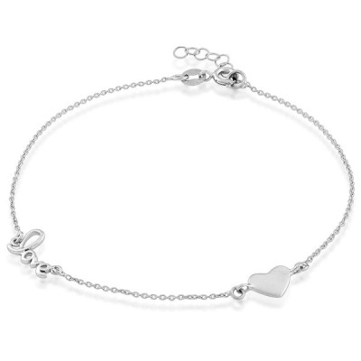 """Beaux Bijoux 925 Sterling Silver Italian 9"""" + 1"""" Extension Love and He"""