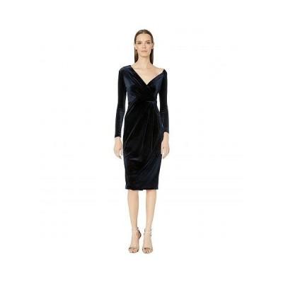 Cushnie レディース 女性用 ファッション ドレス Long Sleeved Off-the-Shoulder Pencil Dress - Navy