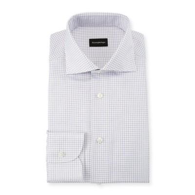 エルメネジルド・ゼニア メンズ シャツ トップス Men's Graph Check Dress Shirt, Purple