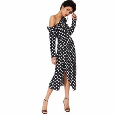 ドレス パーティーロングドレス ショルダーポルカドットドレス 黒白長袖ペンシルドレス