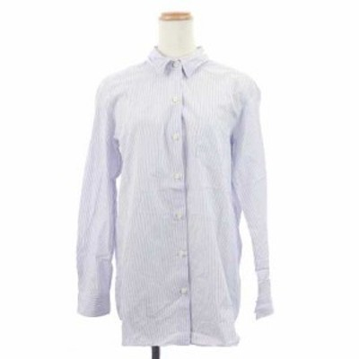 【中古】ドゥーズィエムクラス DEUXIEME CLASSE シャツ オーバーサイズ ストライプ 長袖 青 ブルー レディース
