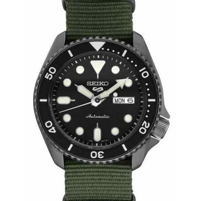 セイコー 腕時計 NEW SEIKO SRPD91P9 5 SPORT BLACK ION / GREEN NYLON STRAP