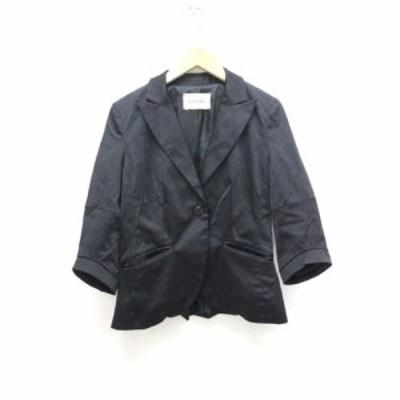 【中古】セントロモーダ CENTRO MODA ローズバッド ジャケット 七分袖 黒 ブラック /Z レディース