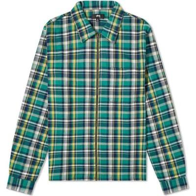 ステューシー Stussy メンズ シャツ トップス classic zip up plaid shirt Green