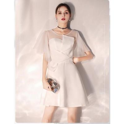 ミニドレス パーティードレス 20代30代40代 ピアノ ウエディングドレス 結婚式ドレス 発表会 Aラインドレス 二次会 披露宴 演奏会 舞台衣装
