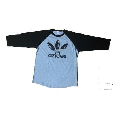 【送料無料】【新品】azides アジデス  ロング 長袖 七分袖 Tシャツ おもしろ パロディ プレゼント メンズ グレー S〜XL