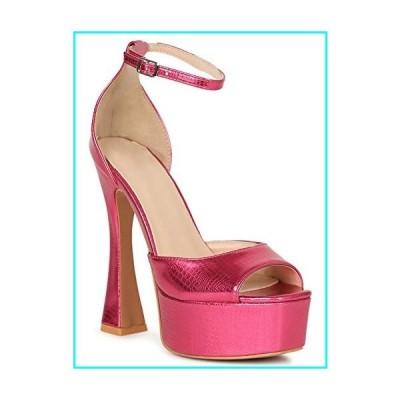 Alrisco Women's Embossed Square Peep Toe Thick Platform Heel Sandal SH64 - Pink Leatherette (Size: 6.0)