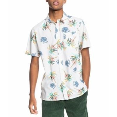 クイックシルバー メンズ シャツ トップス Royal Palms Short-Sleeve Woven Shirt Snow White