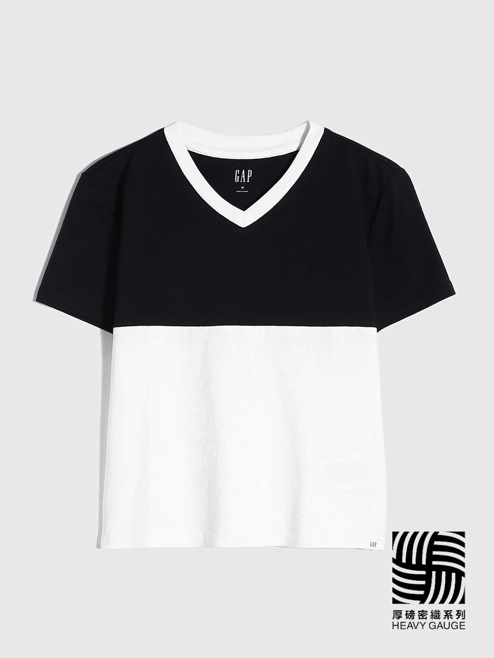 女童 厚磅密織系列 純棉撞色V領短袖T恤