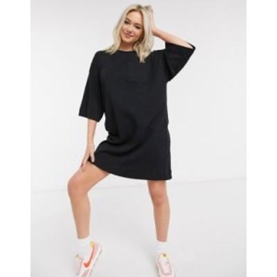エイソス レディース ワンピース トップス ASOS DESIGN oversized winter weight T-Shirt Dress with pocket in black Black