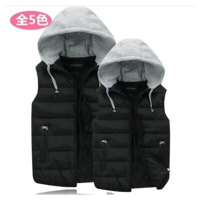 カップルダウンベスト メンズ秋冬ベスト 大きいサイズ ダウンジャケット袖無し ジャンパー 上着アウター 男女フード付きチョッキ 軽量 中綿ベスト アウトドア