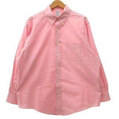 【中古】BROOKS BROTHERS シャツ 長袖 ボタンダウン 無地 コットン 胸ポケット 16 1/2 ピンク IBS91 R021408 メンズ
