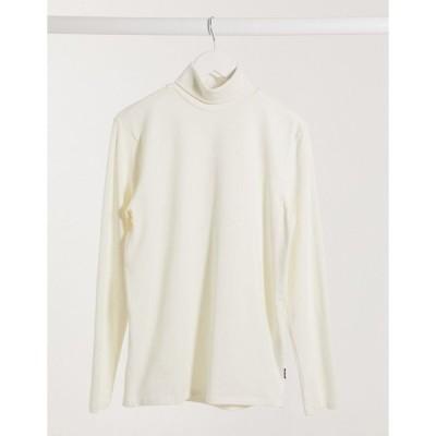 オンリーアンドサンズ 長袖Tシャツ メンズ Only & Sons jersey roll neck in white エイソス ASOS