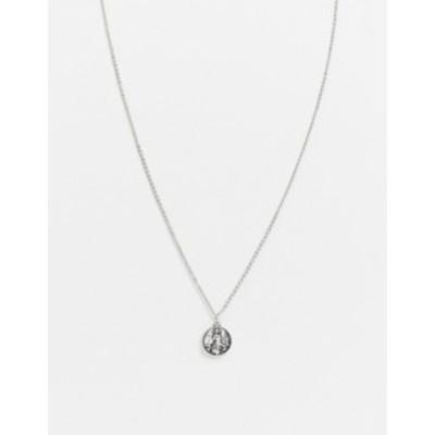 エイソス メンズ ネックレス・チョーカー アクセサリー ASOS DESIGN necklace with religious style pendant in burnished silver tone S