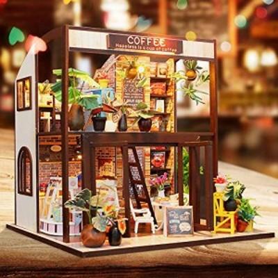 LEMESO ドールハウスキット 手作りキットセット ミニチュアコレクション「旅行喫茶店」DIY木製 英語説明書 オルゴール付属 (M027)