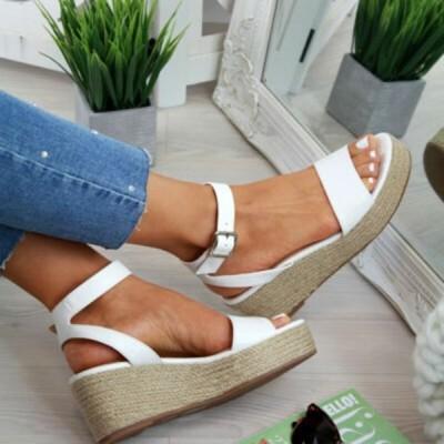 サンダル夏の靴プラットフォームサンダル 2019 ファッション女性ストラップグラディエーターサンダル靴カジュアル女性ピー white 41