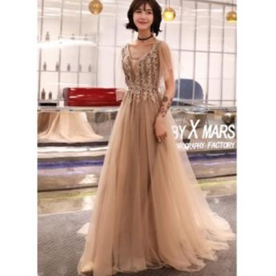 パーティードレス フォーマル ロングドレス ウエディングドレス 40代 結婚式 二次会 お呼ばれ 大きいサイズ 発表会 卒業会 カラードレス