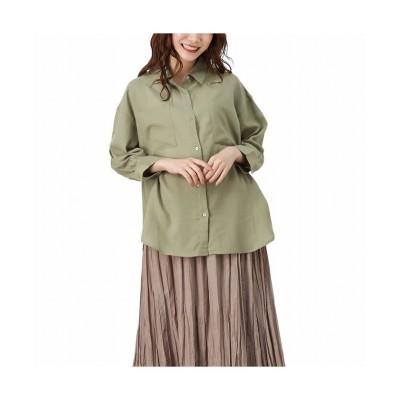 (MAC HOUSE(women)/マックハウス レディース)NAVY ネイビー エアフリー7分袖ポケットシャツ 132-4416/レディース カーキ