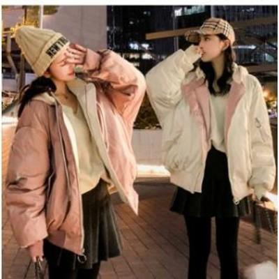 レディース ダウンジャケット冬季着通勤綿入れコートアウターコートショットフード付きファー厚手ビッグサイズ BF風人気学生両面着