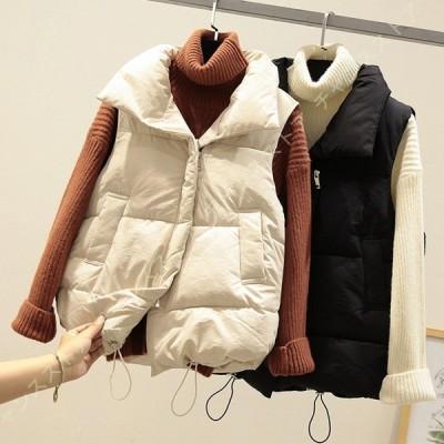 ドローコード付き 中綿ベスト ショート丈 ダウンベスト レディース ショートベスト 中綿 ジャケット ノースリーブ 中綿 コート 中綿入り 軽量アウター 防寒