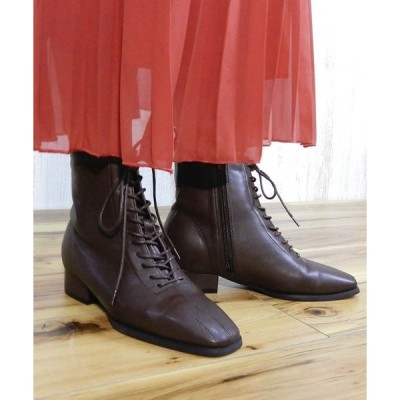 ブーツ スクエアトゥレースアップショートブーツ ◆