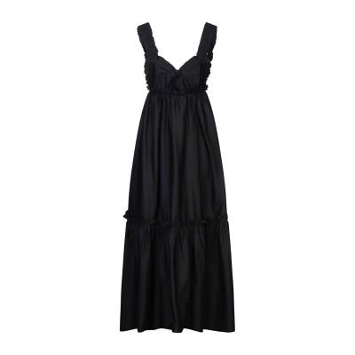 KI6? WHO ARE YOU? ロングワンピース&ドレス ブラック 42 コットン 97% / ポリウレタン 3% ロングワンピース&ドレス