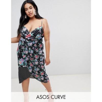 エイソス レディース ワンピース ワンピース・ドレス ASOS DESIGN Curve mixed print midi dress Multi