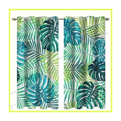 Boyouth Yellow and Green Leaves Pattern Digital Print Blackout Curtains,Room Darkening Thermal Insulation Curtains and Drapes with Grommets