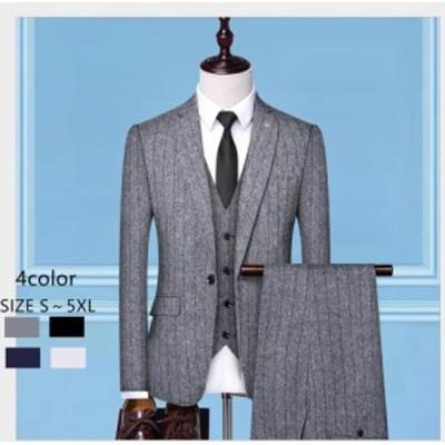 メンズスーツ 3ピーススーツ 上品 1つボタンスーツ フォーマル 成人式 就職活動 演出会 タキシードスーツ ストライプ柄 セットアップ 披