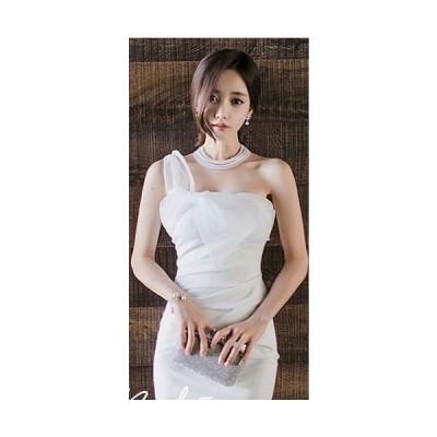 Iラインタイトドレス(ホワイト)パーティドレス 結婚式 二次会 お呼ばれ 春夏