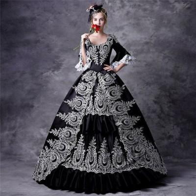 貴族 ドレス お姫様 衣装 カラー ロング 宮廷 お嬢様 ステージ衣装 大きいサイズ 舞台衣装 王様 服 豪華なドレス バロック風 プリンセスライン