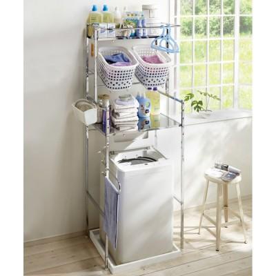 奥行たっぷり ステンレス棚の洗濯機ラック 棚2段・洗濯バスケット2個・幅70〜89cm シルバー