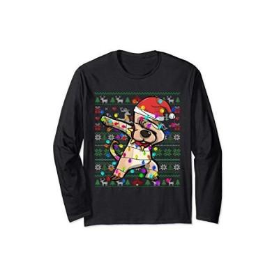 ダビングはサンタ帽子を着用しています - クリスマスライト - 犬の恋人のためのおかしなクリスマスのギフト 長袖Tシャツ