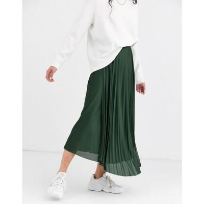 エイソス ASOS DESIGN レディース ロング・マキシ丈スカート ラップスカート スカート cut about wrap pleated city maxi skirt グリーン