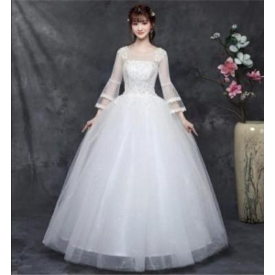新品花嫁 ウエディングドレス S-8XL 二次会ドレス 白 ホワイト 大きいサイズ 袖あり ステージドレス 結婚式 卒業式 ロングドレス 激安