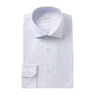 ペリーエリス メンズ シャツ トップス Check Print Tech Slim Fit Shirt LIGHT BLUE CHECK