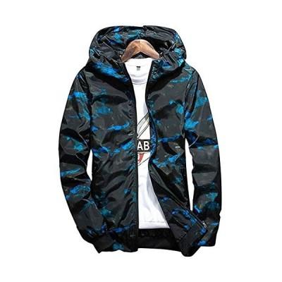[フォーリーフ] 迷彩柄 ナイロン ジャケット フード付き メンズ パーカー カラフル ウインドブレーカー ファッション かじゅある ながそで ネイビ
