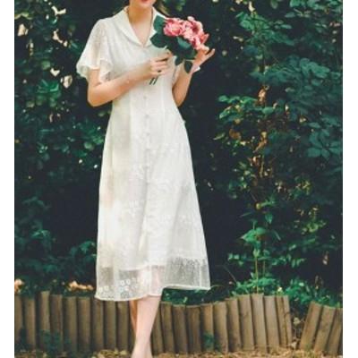 レディース レースワンピース ホワイト 清楚 ふんわり 透け感 花柄 フェミニン 半袖 ロング Aライン フレア 大きいサイズ サイズ豊富 春