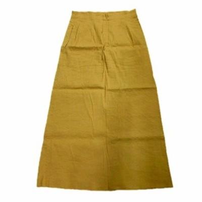 【中古】ブレンへイム BLENHEIM リネン コットン ロング 台形 スカート ストレッチ M ベージュ U430-030 レディース