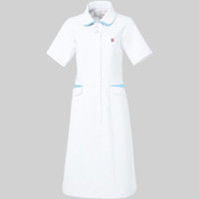 明石スクールユニフォームカンパニールコックスポルティフ ワンピース UQW0040 ホワイト×アクア EL 医療白衣 1枚(直送品)